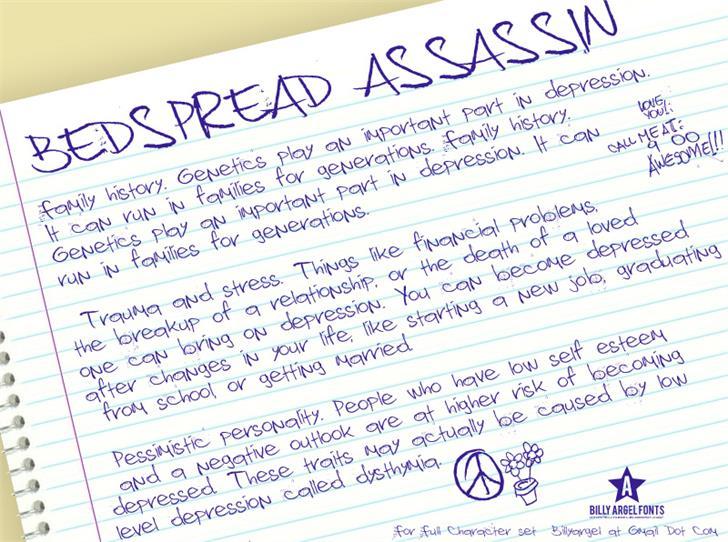 Bedspread Assassin font by Billy Argel
