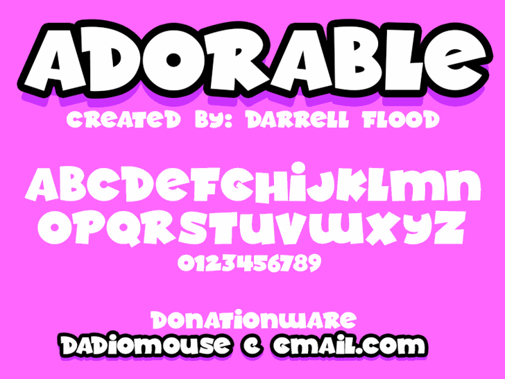 Adorable font by Darrell Flood