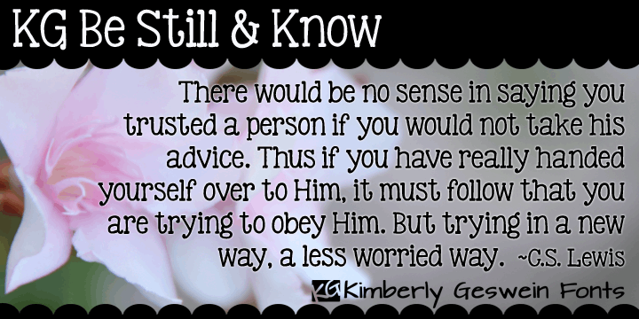 Image for KG Be Still & Know font