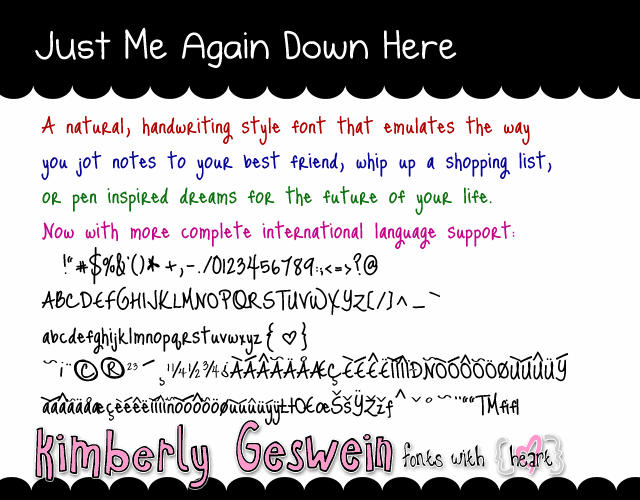 Image for Just Me Again Down Here font