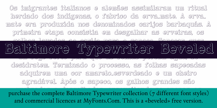 BaltimoreTypewriterBold Beveled font by Intellecta Design