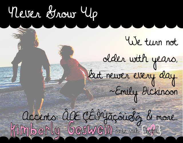 Image for Never Grow Up font