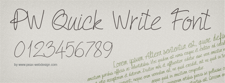 PW Quick Write font by Peax Webdesign