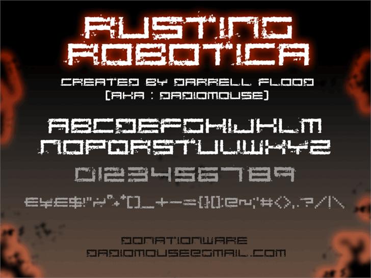 Rusting Robotica font by Darrell Flood