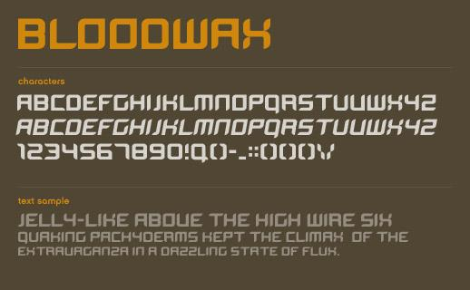 BloodWax font by Marc Clancy