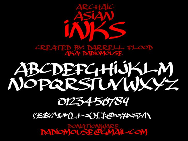 Archaic Asian Inks font by Darrell Flood