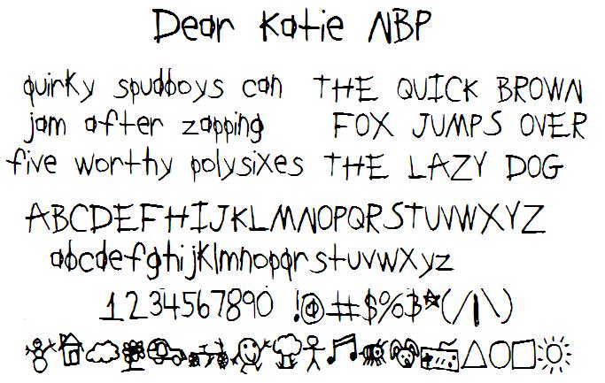 DearKatieNBP font by total FontGeek DTF, Ltd.