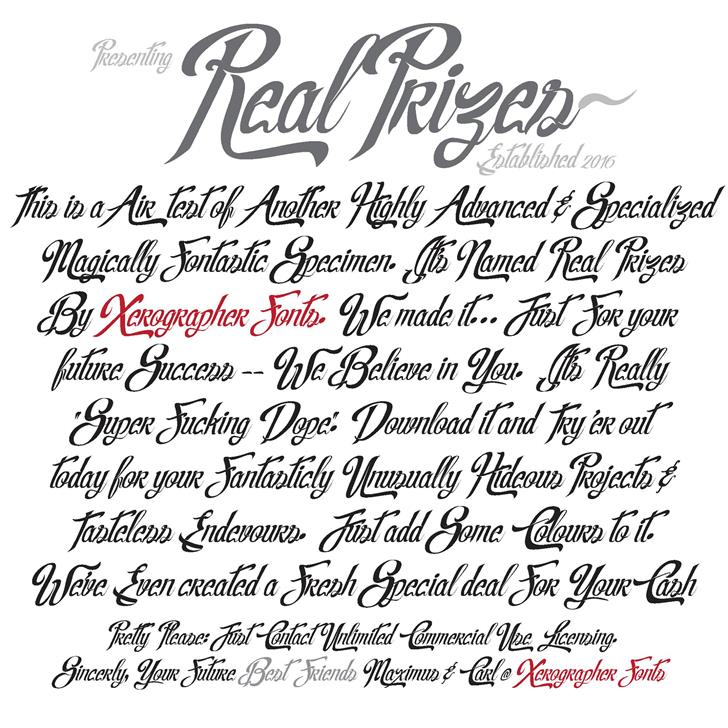 Image for Real Prizes font
