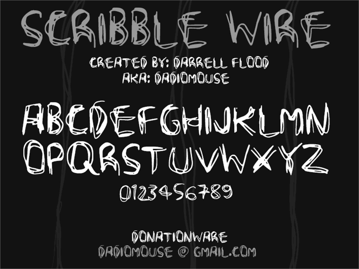 Scribble Wire font by Darrell Flood