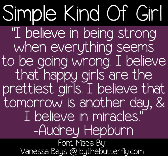 Image for Simple Kind Of Girl font