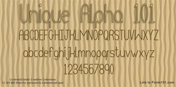 Unique Alpha 101 font by Fonts101