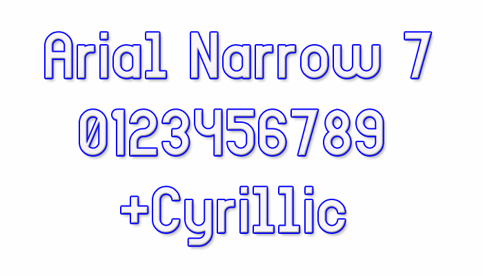 Image for Arial Narrow 7 font