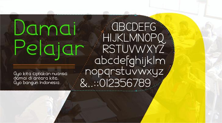 Damai Pelajar font by Gunarta