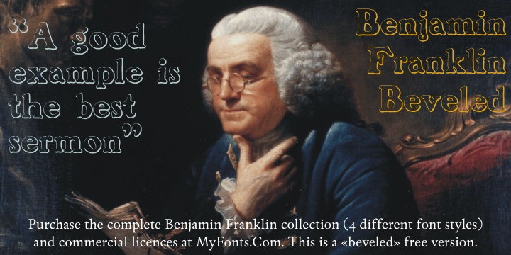 BenjaminFranklin Beveled font by Intellecta Design