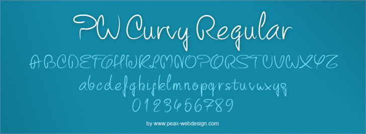 PW Curvy regular script font by Peax Webdesign