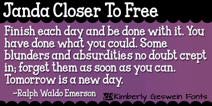 Janda Closer To Free font by Kimberly Geswein
