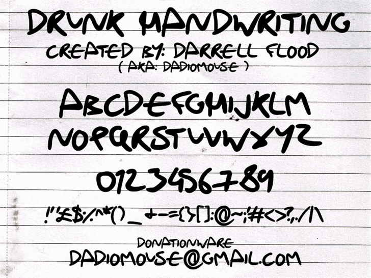 Image for Drunk Handwriting font