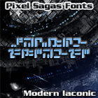 Modern Iaconic font by Pixel Sagas