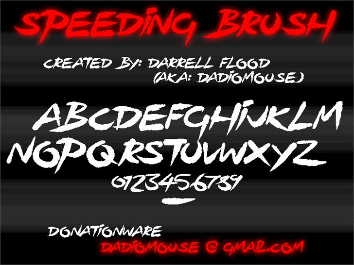 Image for Speeding Brush font