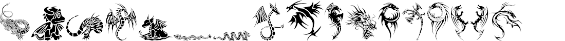 Preview image for Tribal Dragons Tattoo Designs Font