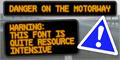 Illustration of font Danger on the Motorway