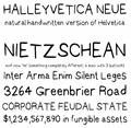 Illustration of font Halleyvetica Neue NBP