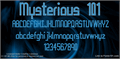 Illustration of font Mysterious 101
