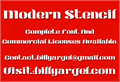 Illustration of font Modern Stencil Personal Use