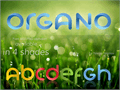 Illustration of font Organo (colored version at: log