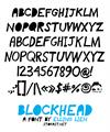 Illustration of font blockhead