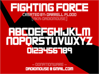 Sample image of FIGHTING FORCE font by Darrell Flood