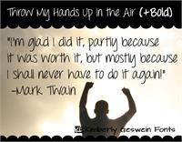 Sample image of Throw My Hands Up in the Air font by Kimberly Geswein