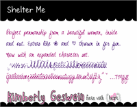 Sample image of Shelter Me font by Kimberly Geswein