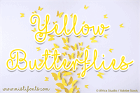 Sample image of Mf Yellow Butterflies font by Misti's Fonts