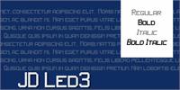 Sample image of JD LED3 font by Jecko Development