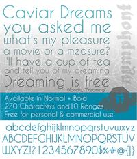 Sample image of Caviar Dreams font by Nymphont