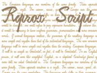 Sample image of ReproxScript font by Intellecta Design