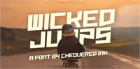 Sample image of Wicked Jumps font by Chequered Ink