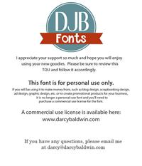 Sample image of DJB I Love Me Some Aly font by Darcy Baldwin Fonts