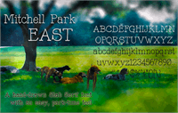 Sample image of Mitchell Park East font by BessAsher Rebel