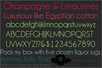 Sample image of Champagne & Limousines font by Nymphont