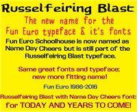 Sample image of Fun Euro font by SWMCA Brands & Holding LLC.