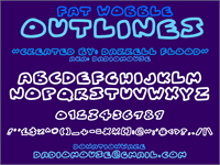 Sample image of Fat Wobble Outlines font by Darrell Flood