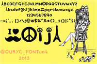 Sample image of peace mustache  font by OUBYC_FONTunik