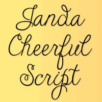 Sample image of Janda Cheerful Script font by Kimberly Geswein