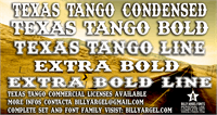 Sample image of Texas Tango BOLD PERSONAL USE font by Billy Argel