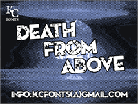 Sample image of Death From Above font by KC Fonts