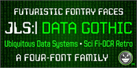 Sample image of JLS Data Gothic font by the Fontry