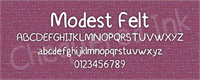 Sample image of Modest Felt font by Chequered Ink