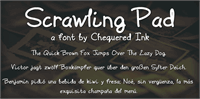 Sample image of Scrawling Pad font by Chequered Ink